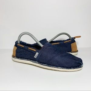 Toms Blue Denim Jean Tan Suede Slip Ons Flats WIDE